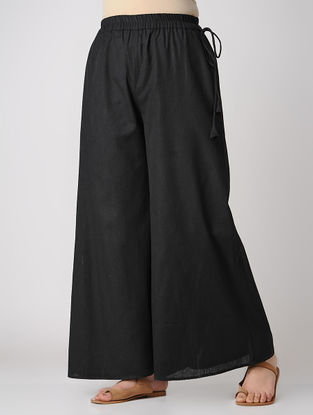Black Elasticated Waist Cambric Palazzos