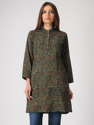 Green Ajrakh-printed Cotton Kurta