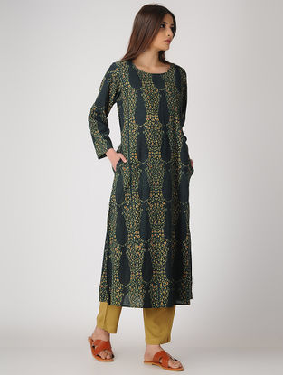 Green Ajrakh-printed Cotton Kurta with Pockets