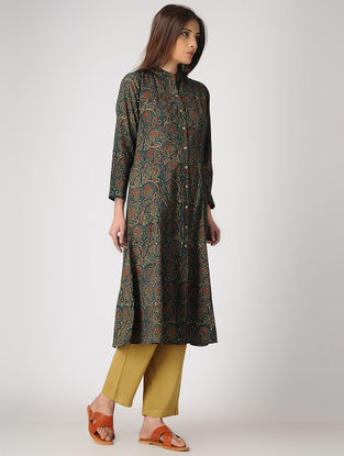 Green Button-down Ajrakh-printed Cotton Kurta