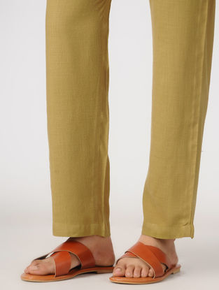 Yellow Elasticated Waist Slub-Cotton Pants