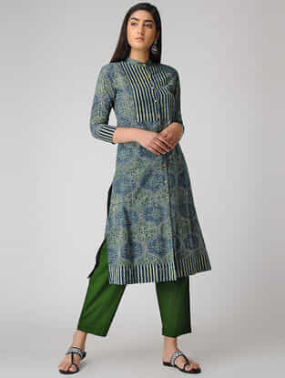 Green-Blue Ajrakh-printed Cotton Kurta