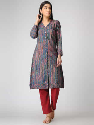 Blue Ajrakh-printed Cotton Kurta