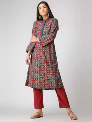 Red Ajrakh-printed Cotton Kurta