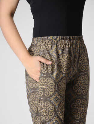 Brown Ajrakh-printed Elasticated Waist Cotton Pants