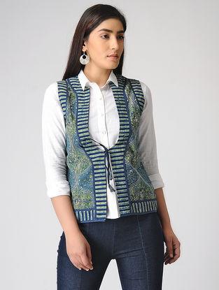 Blue-Green Ajrakh-printed Cotton Jacket
