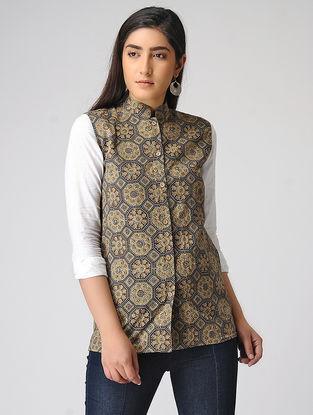 Brown Ajrakh-printed Cotton Jacket