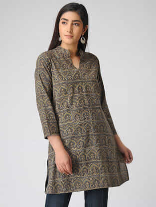 Brown Ajrakh-printed Cotton Kurta