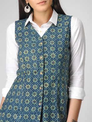 Blue Ajrakh-printed Cotton Jacket
