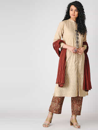 Beige Button-down Cotton Dobby Kurta