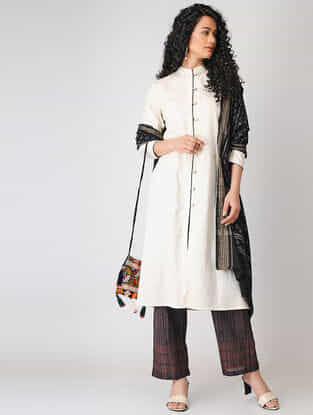 Beige Button-down Cotton Slub Kurta