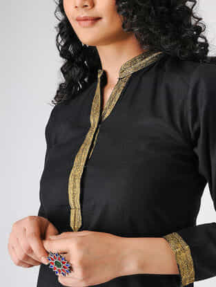 Black Cotton Slub Kurta
