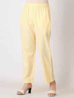 Beige Elasticated Waist Cotton Slub Pants