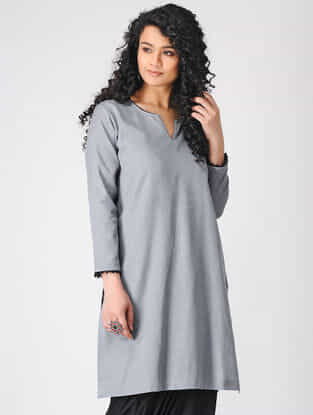Grey Cotton Slub Kurta