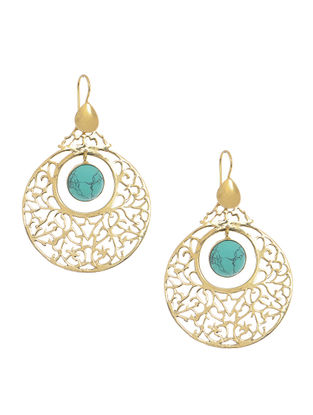 Turquoise Gold Tone Brass Earrings