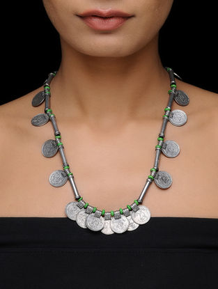 Green Thread Necklace with Coin Design