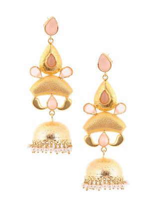 Pink Gold Tone Brass Jhumkis