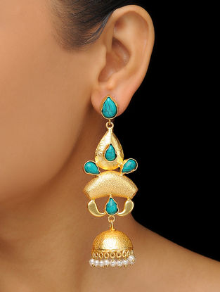 Turquoise Gold Tone Brass Jhumkis