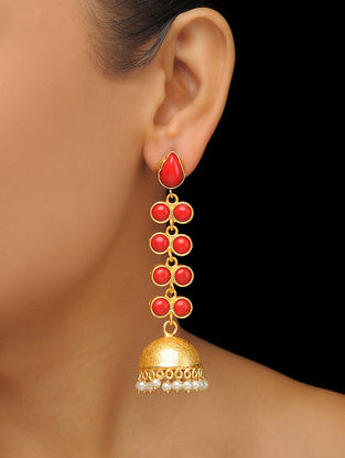 Red Gold Tone Brass Jhumkis