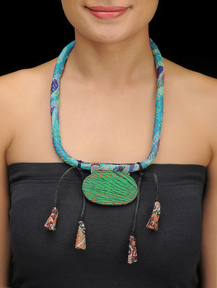 Multicolored Kantha-embroidered Silk Necklace