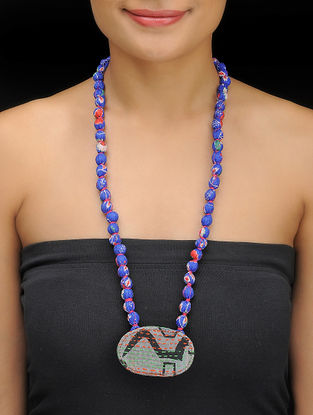 Blue-Grey Kantha-embroidered Silk Necklace