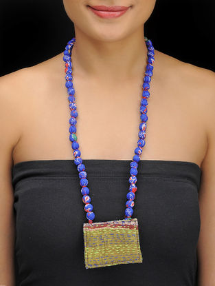 Blue-Green Kantha-embroidered Silk Necklace