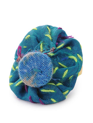 Blue-Green Kantha-embroidered Adjustable Silk Ring