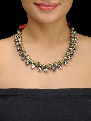 Red Thread Dual Tone Necklace with Floral Design