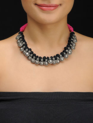 Black-Pink Thread Necklace with Floral Design