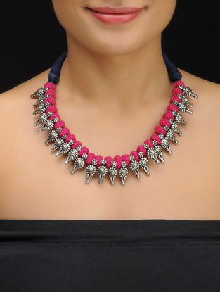 Pink-Blue Thread Necklace with Floral Design