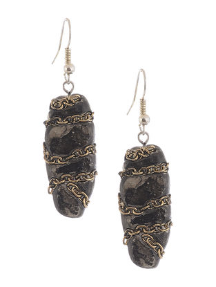Black Hand-painted Clay Earrings