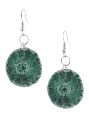 Green Hand-painted Clay Earrings