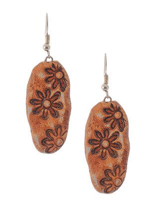 Brown Hand-painted Clay Earrings