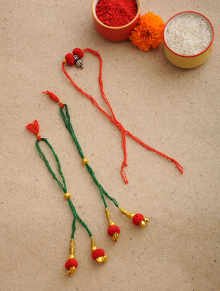 Multicolored Thread Rakhi and Lumba (Set of 3)