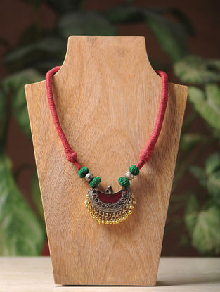 Green-Maroon Thread Vintage Afghani Brass Necklace