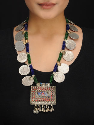 Green-Blue Beaded Vintage Afghani Brass Necklace