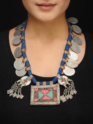 Blue Beaded Vintage Afghani Brass Necklace