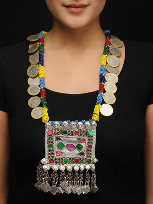 Multicolored Beaded Vintage Afghani Brass Necklace