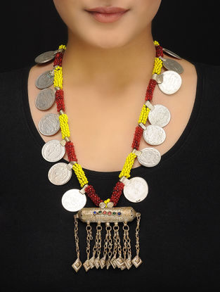 Red-Yellow Beaded Vintage Afghani Brass Necklace