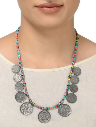 Multicolored Beaded Necklace with Coin Design