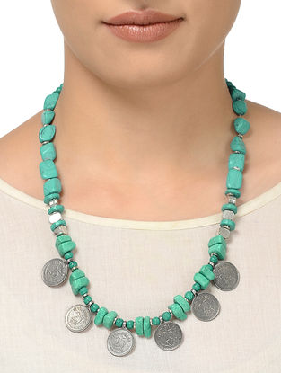 Turquoise Beaded Necklace with Coin Design