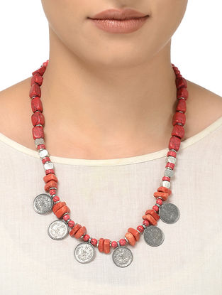 Red Beaded Necklace with Coin Design