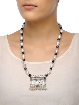 Black-White Dholki Beaded Tribal Necklace