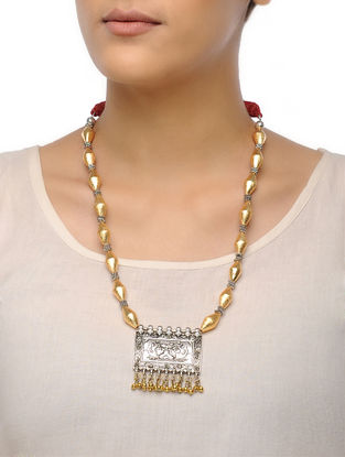 Golden Dholki Beaded Tribal Necklace