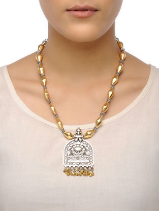 Golden Dholki Beaded Tribal Necklace with Floral Motif