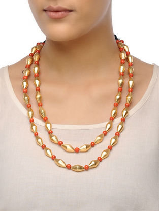 Golden-Orange Dholki Beaded Tribal Necklace