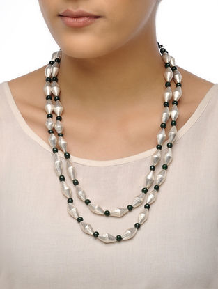 White-Green Dholki Beaded Tribal Necklace