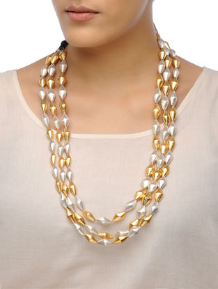 White-Golden Dholki Beaded Tribal Necklace