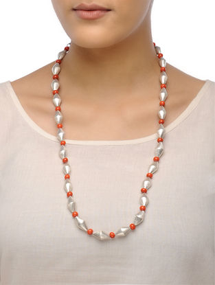 White-Orange Dholki Beaded Tribal Necklace