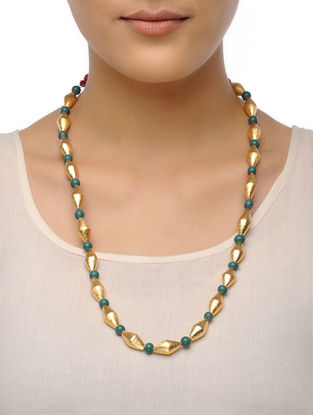 Golden-Green Dholki Beaded Tribal Necklace